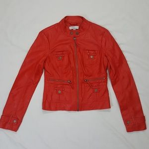 Red 80s Vibe Motto Jacket Pleather size XS
